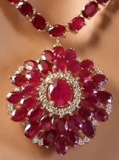65.00CTW NATURAL RUBY AND DIAMOND NECKLACE IN 14K YELLOW GOLD