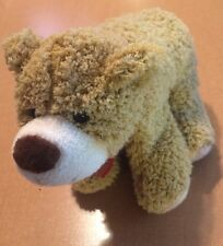 """Standing Curly Hair Brown Bear Plush With Ribbon 9"""""""