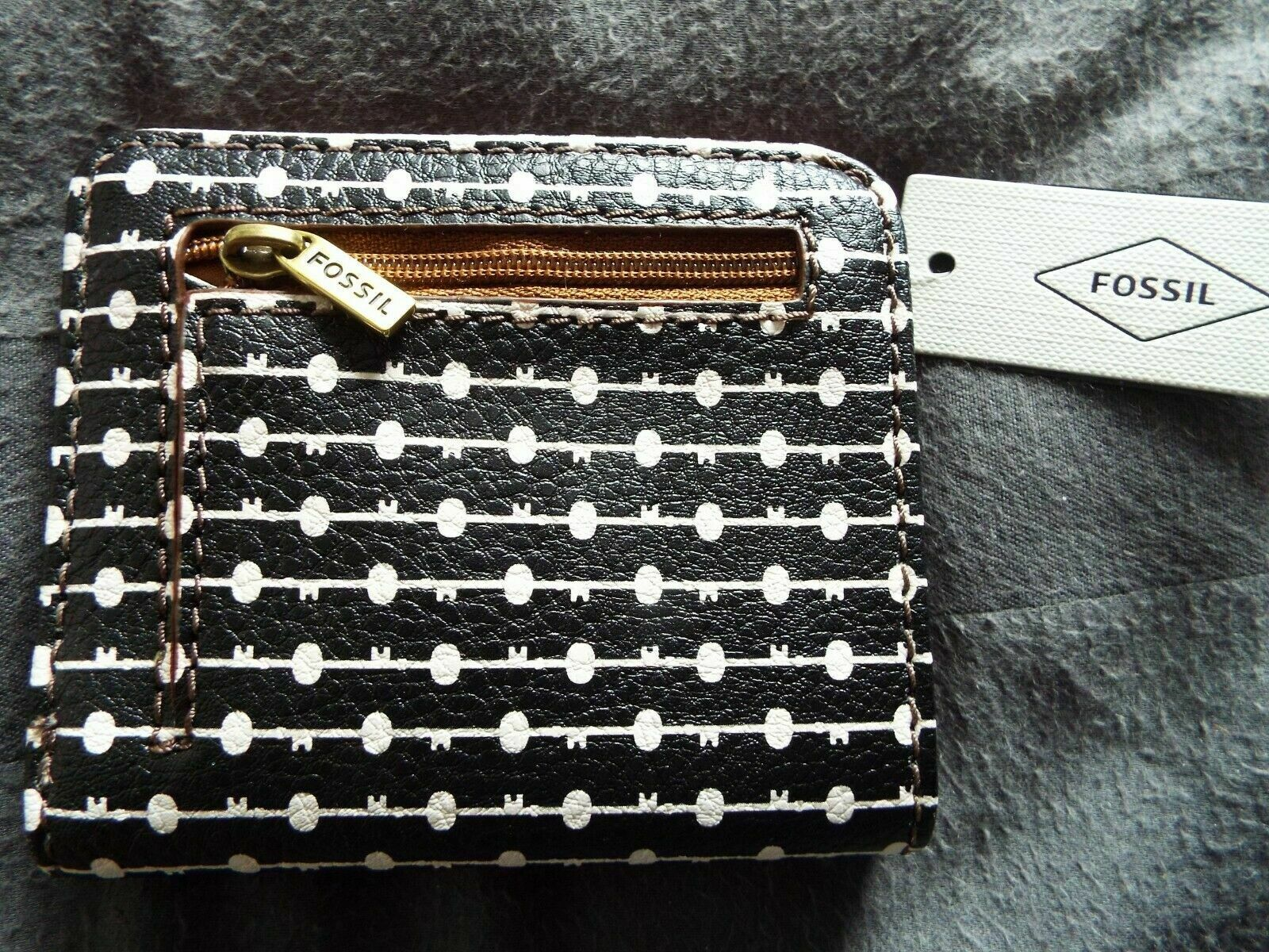 @ NEW Fossil Ladies Madison Purse, coin zip pocket SWL1888005 key pattern RRP