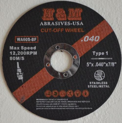 "25pk 5/"" x .040/"" x 7//8/"" Cutting Wheel Stainless Steel /& Metal Cut-off Disc Type 1"