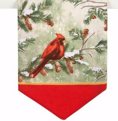 """Holiday Table Runner Christmas Cardinals in Snow 13"""" X 36"""""""