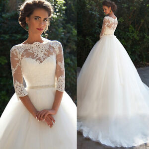 Lace-Wedding-Dress-Bridal-Ball-Gown-3-4-Sleeve-Size-2-4-6-8-10-12-14-16-18-20
