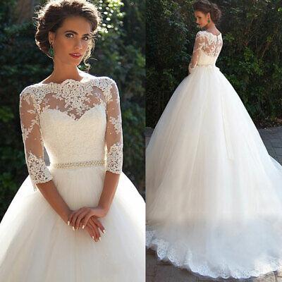 Wedding Dresses Bridal Gowns Long Sleeves V Neck 2 4 6 8 10 12 14 16 18 20 22 24