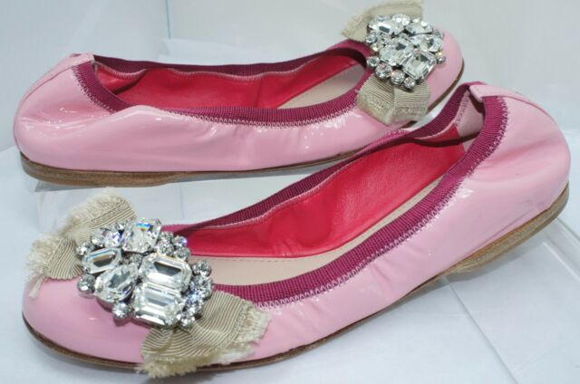 Buy MIU MIU Women s Shoes Pink Flats Size 36 Prada Vernice 12 Ballet ... e5bfabf31c