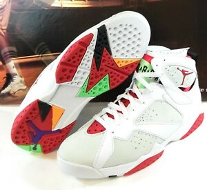 96f480c04d22 New Mens Nike Air Jordan 7 Retro White Red Hares Basketball Sneakers ...
