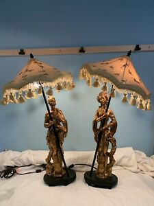 2-Vintage-Gold-Table-Lamps-w-Shades-Mid-Century-Asian-Man-amp-Woman-fishing-A756