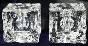 Vintage-Retro-Peill-amp-Putzler-Pair-of-Candlestick-Ice-Cube-Glass-Candle-Holders