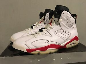 a15222b6649 Men s Air Jordan 6 Retro White Varsity Red-Blk 384664102 Sz.11 used ...