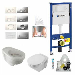 Details zu Geberit Duofix Vorwandelement Wand WC-Set + Villeroy & Boch WC +  Drückerplatte