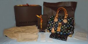 f33c3e6bfe659 Image is loading AUTHENTIC-Louis-Vuitton-Multi-Color-Black-Speedy-30-