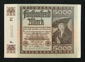 Germany-Early-Banknote-5000-Mark-1922-Almost-Uncirculated