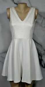 ANNABELLA White Fit and Flare Sleeveless Dress Small Lace Bodice Textured Fabric