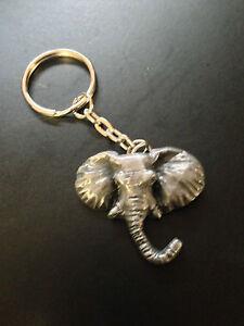 Elephant-Head-Pewter-Effect-Animal-3D-Emblem-On-a-Split-Keyring-Handmade