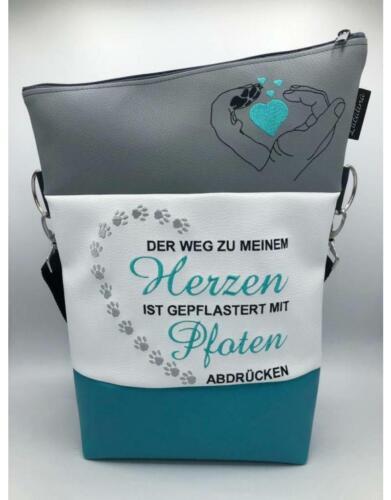 Gepflastert mit Pfoten Handtasche Foldover *handmade *bestickt Umhängetasche