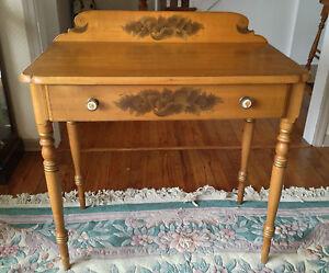 Vintage Hitchcock Desk With Drawer Maple Harvest Style