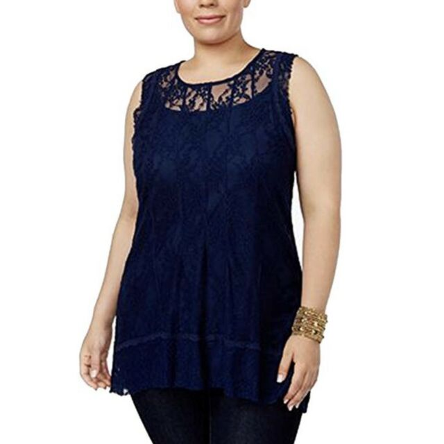 NEW Style /& Co Plus Size 1X Cotton Mixed-Print Tank Top Embroidered Blue $44
