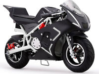 Motorcycle Pocket Bike Mini Gas 40cc Ride On Powered White Boys Girls Youth