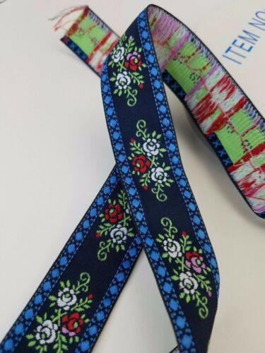 Blue Flower Swedish Woven Fabric Trim 1 1//4 inch wide sold by the yard