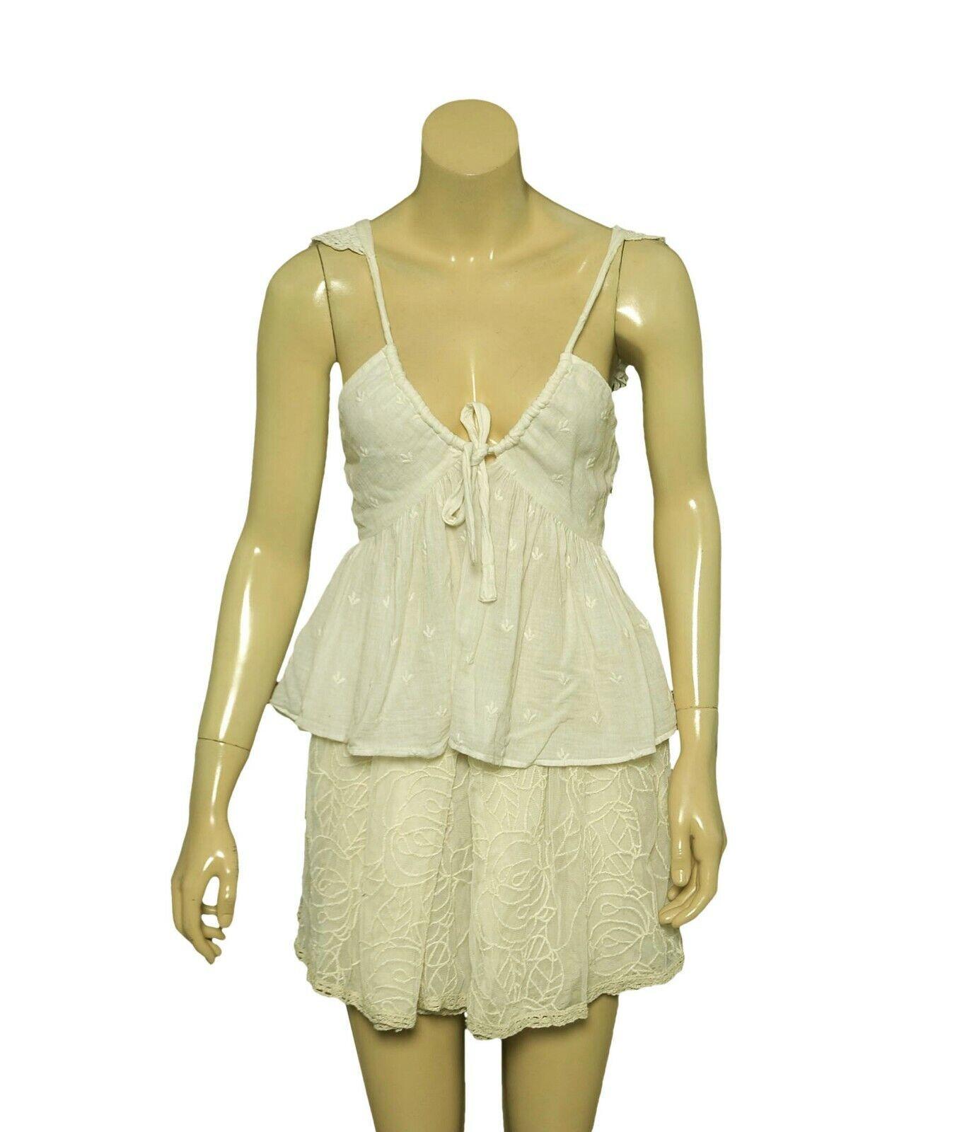 8143 New Ulla Johnson Embroiedrot Crochet  Sleeveless Cotton Crop Blouse Top XS