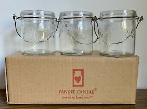 Yankee-Candle-3-Clear-Glass-Mason-Jar-Votive-Holder-Set-of-3-New-In-Box-Handles