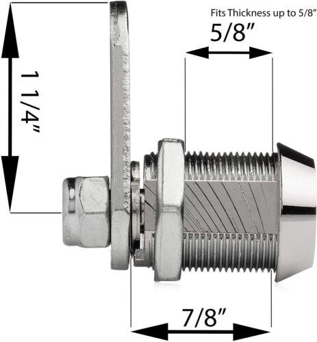 "1 1//4/"" Cam Offset Cam 7//8/"" Tubular Cam Lock Keyed Alike 2 Keys"