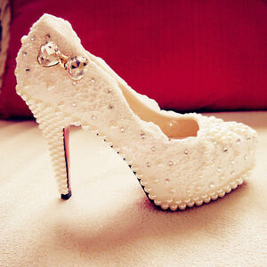 Image Is Loading Handmade Ivory Beaded Lace Bridal Shoes Pearl Rhinestone