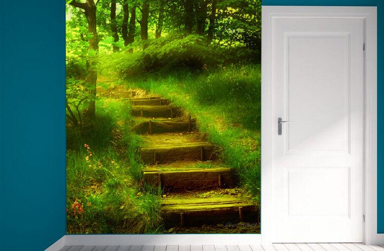 Mega 3D Grassland Ladder Wall Paper Wall Print Decal Wall Deco Indoor Wall Mural