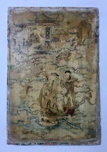Chine, Plaque de marbre ou albâtre peinte, Arts d'Asie, XIXe ou avant?