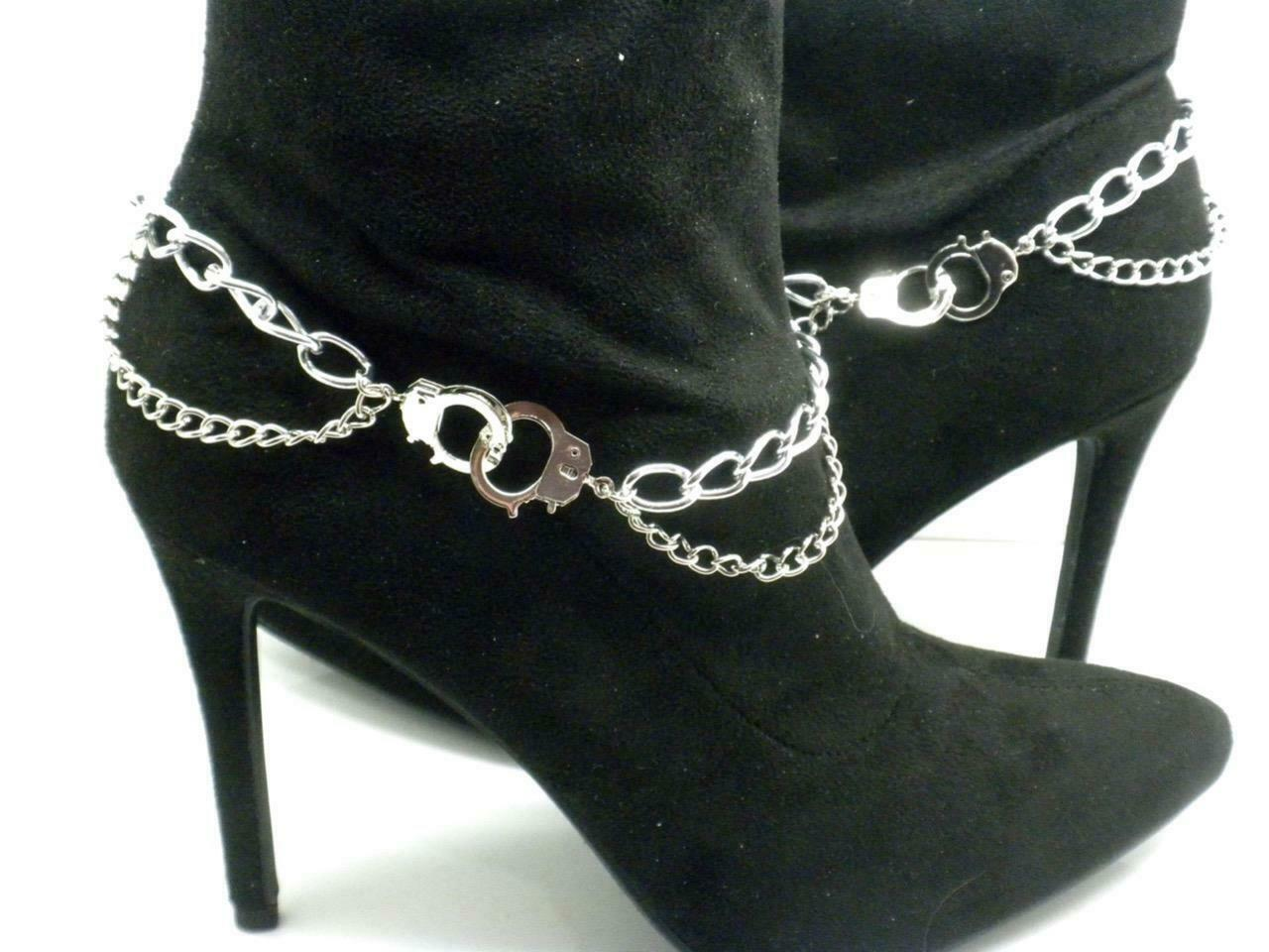 Handcuff Boot Chain Straps Silver Link Pair Anklet New 12
