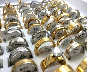 100-Silver-Gold-Zircon-Wedding-Band-Rings-Stainless-Steel-ring-Jewelry-Bulk-Lots