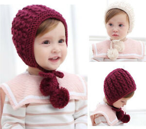 6762d626c4b Kids Newborn Infant Baby Knit Hat Cap Beanie Bonnet Winter Hair Ear ...