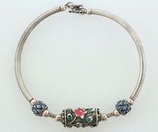"Vintage Sterling Silver 925 Floral Hand Painted Enamel Beads Tube Bracelet - 7"""