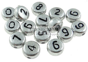 FREE-SHIP-75pcs-Antique-Silver-Number-Coin-Round-Alphabet-Bead-Hole-Jewery-F1095