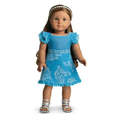 American Girl Kanani Azul de la pana Partido Traje Vestido Sandalias Muñeca contabiliza