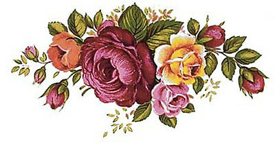 Gentil VinTaGe IMaGe XL ViBranT RoSeS BouQueTs SWaGs ShaBby WaTerSLiDe DeCALs  FuRNiTuRe