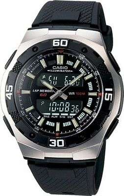 AUTHENTIC Casio Mans Ana Digi World Time Alarm Sport Watch Black Dial AQ-164W-1A