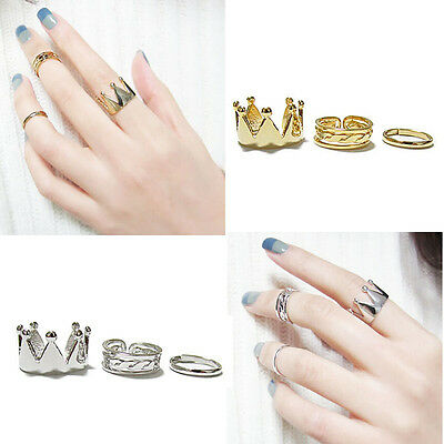 2015 New Women Crown 3Pcs/Set Fashion Design Stack Above Knuckle Nail Ring Pop
