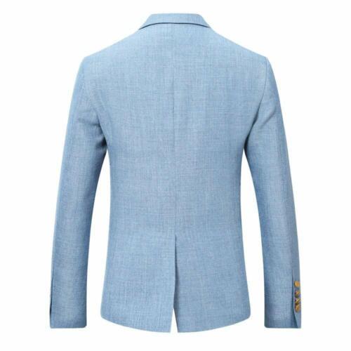 Men Sky Blue Summer Linen Groom Tuxedos Wedding Suit Casual Prom Suit Custom