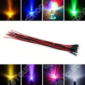 9V 12V 3mm/5mm/8mm/10mm Pre Câble LED Lamp Lumière émitting Diode 20cm 9Colour