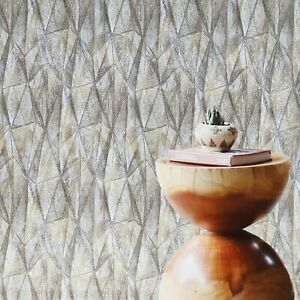 Bronze-gray-gold-metallic-geometric-triangles-diamond-lines-textured-Wallpaper