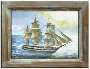 Painting-Oil-Painting-Picture-Oil-Frame-Pictures-Sea-Ships-Oil-Painting-G00520