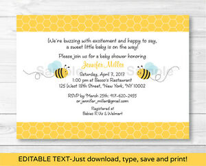 photo regarding Printable Baby Shower Invitations titled Data with regards to Cute Minor Bumble Bee Printable Child Shower Invitation Editable PDF