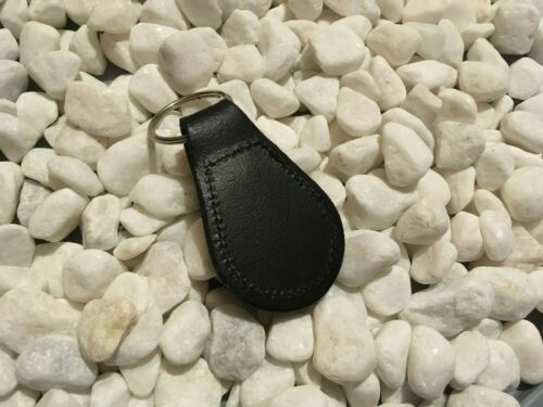 BLACK LEATHER KEYRING WITH PRINTED