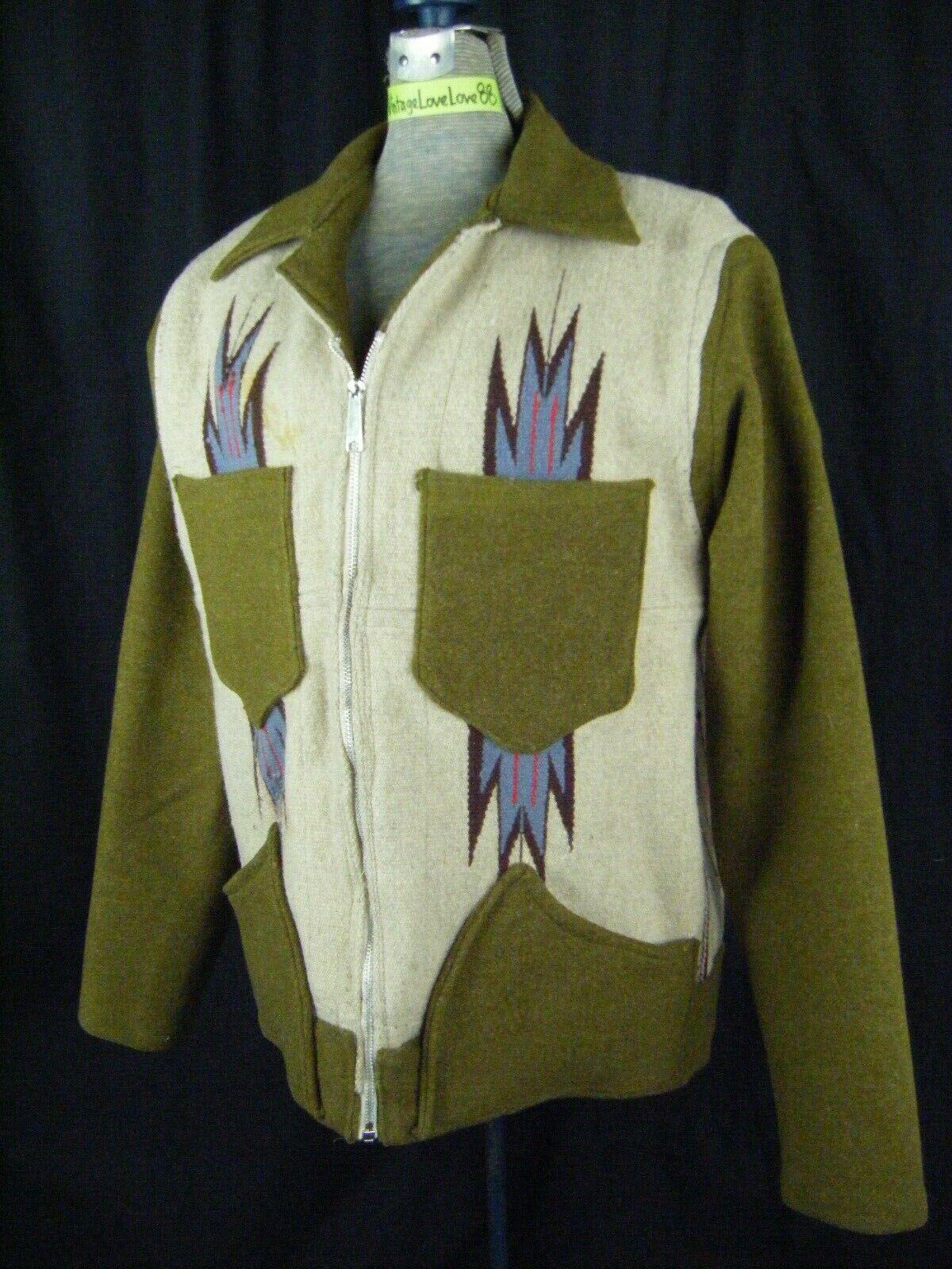 Vintage Chimayo Blanket Men Olive Green/Taupe Jac… - image 4