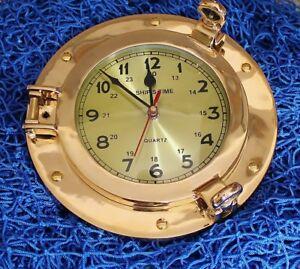 Uhr maritim  im Bullauge Ø: 23 cm, Uhr-Ø: 14 cm  Messing