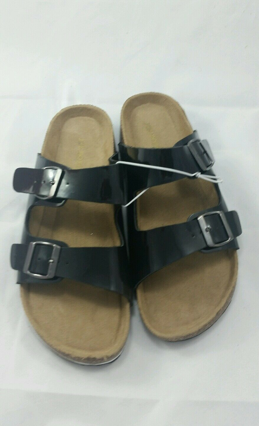 Joe Boxer Slip  Zooey Black Slide 2-Strap Buckle Sandals Slip Boxer On Size 9 98935f