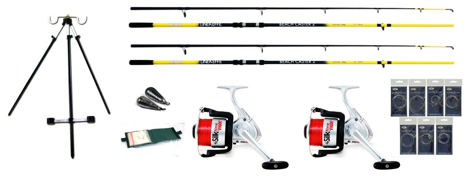 Beachcaster sea fishing Start rite Kit 2 rods,2 Reels + Tele Tripod,Rigs,leads