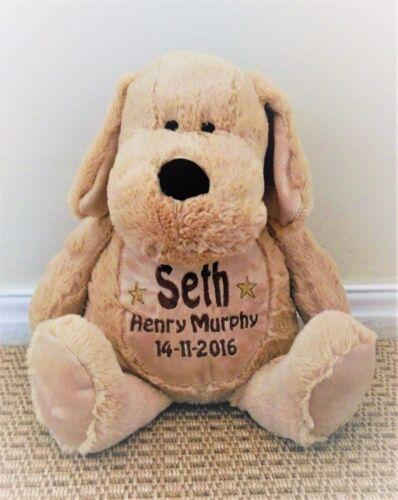 Personalised teddy puppy dog.embroidered baby gift//christening birthday keepsake