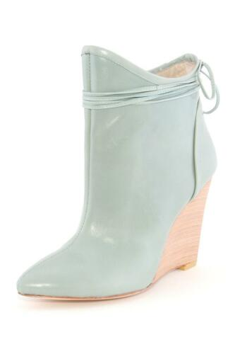 Plomo Camille Bootie Aqua Kid Leather High heel Ankle boot Wedge Teal NEW