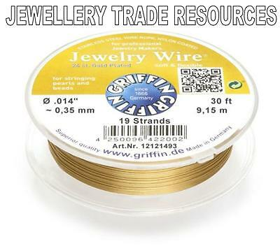 """19 STRAND 0.35mm 30 FT GRIFFIN GOLD PLATED STEEL BEADING JEWELRY WIRE .014/"""""""
